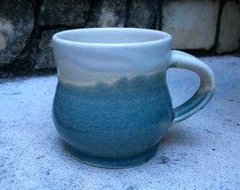 Wheel thrown stoneware glazed mug with handle