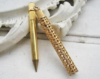 Vintage pencil pendant, vintage gold toned pen with case, French pen pendant, vintage ink filled pencil, antique chatelaine pen / pencil