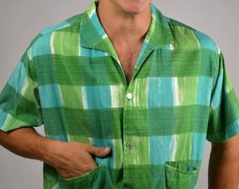 sale Men's Shirt, Vintage Shirt, Plaid Shirt, 50s Men Shirt, Beach Shirt, Short Sleeves, Green Plaid, Cotton Shirt, Short Shirt, Sport Shirt