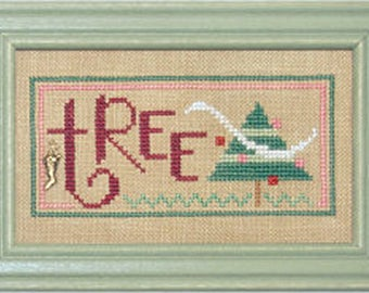 Lizzie Kate Double Flip F78 Tree Candy - Christmas Spirit with Charm Counted Cross Stitch Chart Pattern with Charms