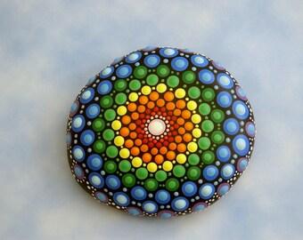 Ships free to USA mandala stones Etsy aboriginal bohemian dot art gift ideas ooak 3D neon polka dot yoga art blue green crystal rainbow Zen