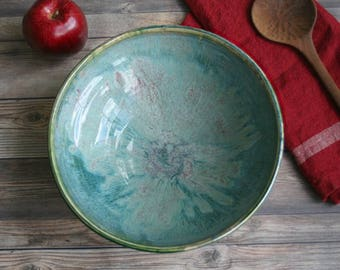 """Large Serving Bowl with Gorgeous Dripping Green  and Mint Glazes """"Second"""" Discounted Imperfect Ceramic Bowl Handcrafted Pottery Made in USA"""