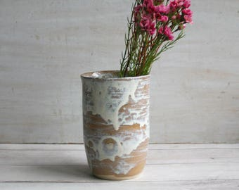 Rustic White and Ocher Pottery Vase Dripping Glazes Handcrafted Flower Vase Ready to Ship Made in USA