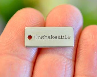 Unshakeable, Custom Laser Engraved Stainless Steel Rectangle Charm CC746