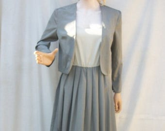 SALE 80s Gray Sundress and Jacket size Small Caron Two Tone Dress with Jacket