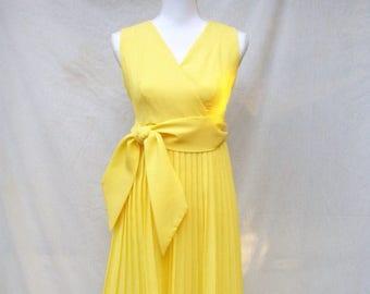 SALE 60s Bright Yellow Pleated Dress size Small Sleeveless Mini Empire Waist
