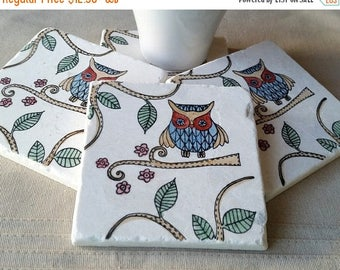 XMASINJULYSale Absorbent Tile Coasters - Woodland Owl Home Decor - Father's Day Gift - Otis the Owl Design