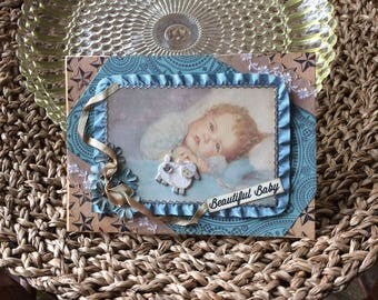 Handmade Baby Boy Card - Welcome New Baby Boy - Vintage-style Baby Boy Card