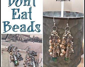 Green and Tan butterfly earrings #17june778