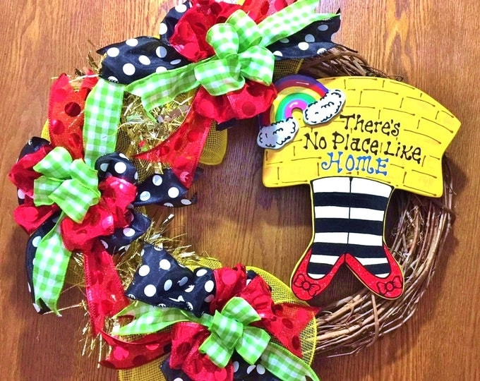 SALE - There is No Place Like Home Wizard of Oz - Welcome Door Grapevine Wreath