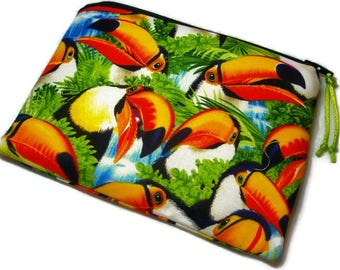 Padded Zipper Pouch Cosmetic Bag in Selfie Toucans and Tropical Jungle Print