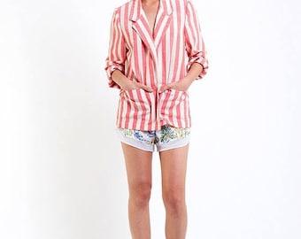 40% SUMMER SALE The Vintage Pink Nautical Stripe Blazer