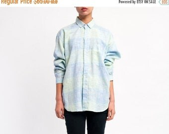 40% OFF The Vintage Baby Blue Pastel Plaid Button Up Shirt