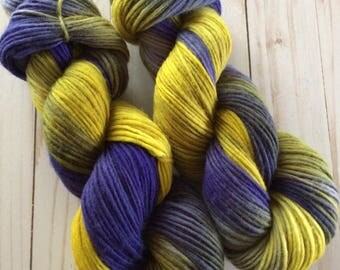 "200 yards Hand Painted Heavy Worsted/ Aran Weight Singles Yarn, Kitting Yarn, Crochet Yarn, Weaving,  ""Spring Iris"" Superwash Merino Singles"