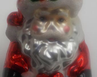 VINTAGE - 1950 Era - Delightful Santa Glass Ornament #2