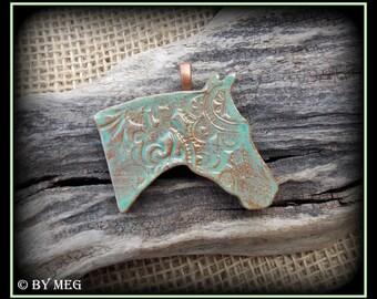 "Quarter Horse Jewelry, Kiln Fired Earthenware, Ceramic Pendant Approx 2.25"" Wide"