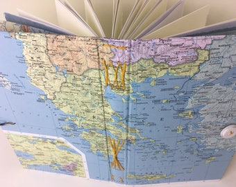 Aegean Sea Journal with maps and cotton art paper, Mediterranean travel journal, Greece/Turkey travel journal, handbound art journal