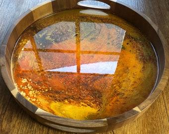 Orange Resin Art Wood Acacia Tray with Handles