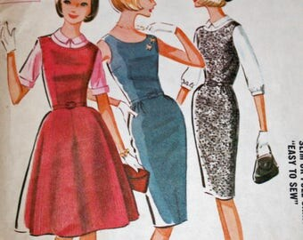Vintage 1960s  Sewing Pattern, McCall's 6984, Teen Dress or Jumper With Slim or Full Skirt and Blouse, Teen Size 14, Bust 34""