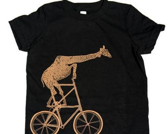 SUMMER SALE Giraffe on a bicycle- Kids T Shirt, Children Tee, Tri Blend Tee, Handmade graphic tee, sizes 2-12