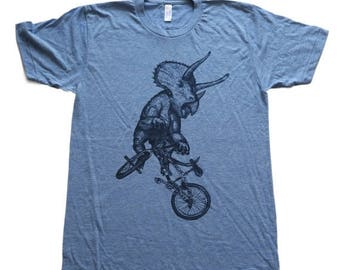 SUMMER SALE Triceratops on a BICYCLE  tri-blend athletic blue T-Shirt