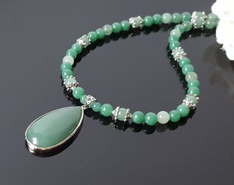 Green Wife Gift Christmas Aventurine Necklace Green Stone Necklace Women Statement Gift Birthday Green Gemstone Necklace Aventurine Pendant