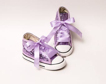Sequin - Toddler - Converse Lavender Purple Canvas Hi Top Sneakers Shoes with Satin Ribbon Laces