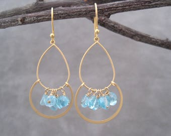 Aquamarine Trapeze Earrings - Matte Gold Hoops - March Birthstone Jewelry - Aquamarine Nuggets - Light Blue Stone Earrings