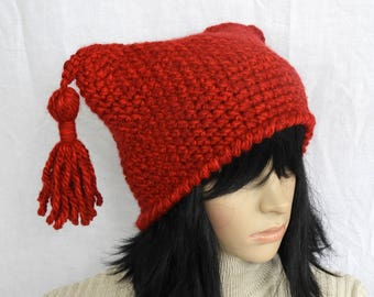 Red Crochet Hat Beanie, Womens Ruby Red Jester Style Beanie with Chunky Tassels,