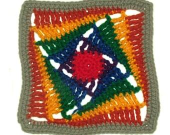Granny Square Crochet Pattern Rainbow Afghan Blanket Rug Instant Download PDF Pattern
