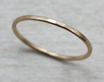 Hammer Textured Round Midi Ring, Stacking Ring, or Wedding Band - Eco-friendly recycled single ring  - Bespoke round band ring