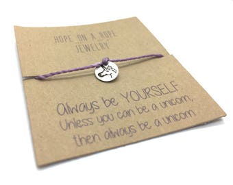 Unicorn Bracelet - Sterling Silver Unicorn Bracelet - Cord Bracelet - Unicorn Charm Bracelet - Unicorn Jewelry - Gift for Girl - Be Yourself
