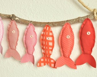 Custom Nine Pink/Red Hanging Fish - Nursery Wall Decor - Child's Room Fish Art