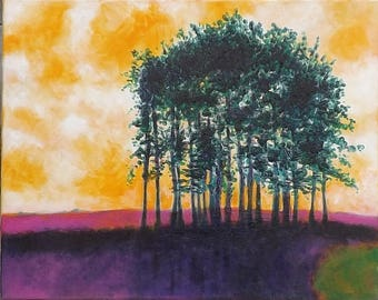 Row of Pines... Acrylic on Canvas...Original Painting