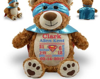 Personalized Stuffed Bear, Super Hero, Birth Announcement, Stuffed Animal Bear, Baby Boy Gift