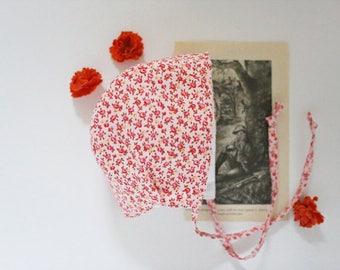 floral baby bonnet | pink baby bonnet | sun hat | baby bonnet | baby hat | 6-12 month bonnet | flower hat | baby flower bonnet | sun bonnet