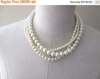 XMAS in JULY SALE Triple Strand Twisted Pearl Layered Necklace, Wedding Party Jewelry, Cream Pearls, Bridal Pearl necklace