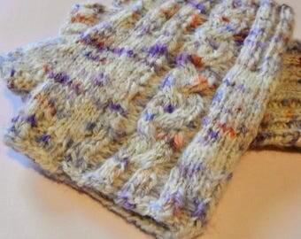 Handspun Fingerless Gloves Hand Knitted Alpaca