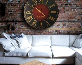 OVERSIZED WALL CLOCK 30in Churchill Fox Large Wall Clock-Handpainted-Family Heirloom-Free Inscription