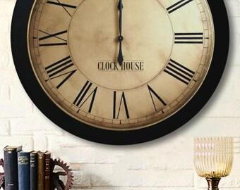 24in WHITING DISTRESSED Clock, Farmhouse clock, Farmhouse decor, Rustic clock, Wood clock, Large wall clock, Wedding clock, Vintage decor