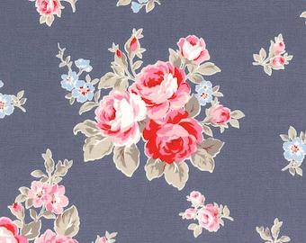 Flower Sugar Cotton Oxford Pink floral on Blue 40398L-71  one yard