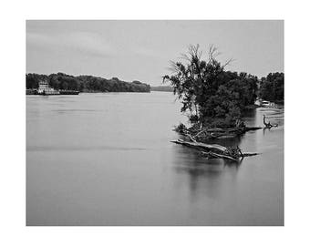 South St. Paul, Minnesota, River View - Fallen trees.  Mississippi River view. Barge. Island view. Still waters. Black and white.