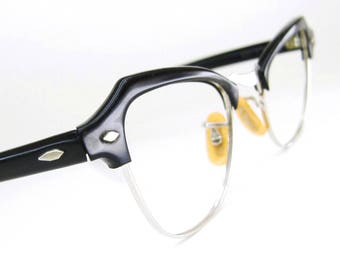 Vintage Black Cat Eye Eyeglasses Frame 12kt gf Bausch&Lomb