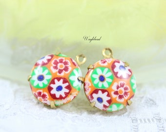 Vintage Round Floral Charm Pendant Set Stones Brass Settings 15mm Orange Red White green flowers  - 4