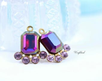Vintage Octagon Stone Swarovski Crystal Earring Drops 17x14mm Jewelry Findings AB Ruby & Light Amethyst - 2