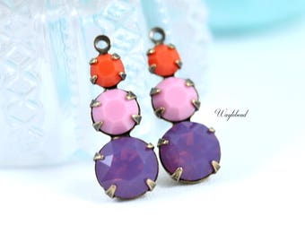 Jewelry Finding Coral Opaque Pink and Cyclamen Purple Vintage Round Glass 23mm Charms Swarovski Rhinestones 1 Loop - 2