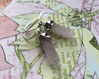 Rose quartz bullet pendant earrings