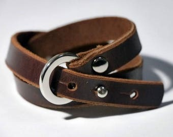 Brown Leather Wrap Bracelet Leather Cuff Leather Bracelet with Silver Tone Ring