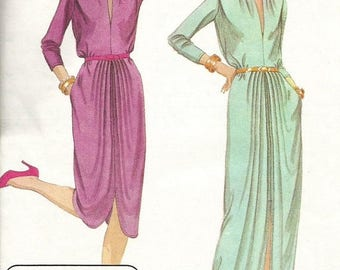 ChristmasinJuly Vintage 70s McCalls 6846 Misses Evening Dress with Draped Hemline and  Long Sleeves Sewing Pattern Size 12 Bust 34 Designer