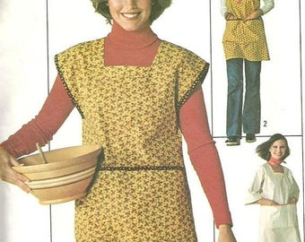 ChristmasinJuly Vintage 70s Simplicity 7708 Misses Hobby Smock Apron or Vendor Apron with Large Pockets Sewing Pattern Size Small Bust 31.5-